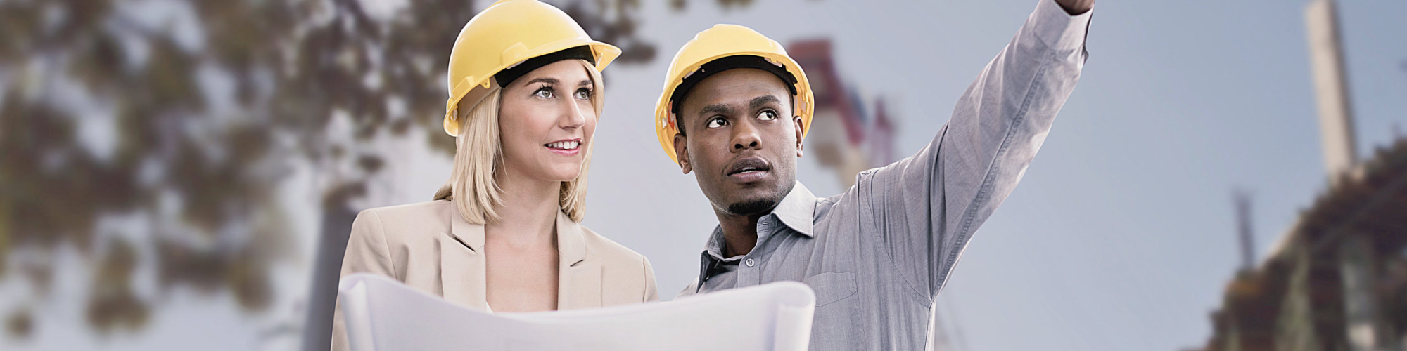 two adult in construction site